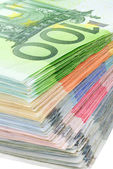 Colorful pile of euro banknotes — Stock Photo