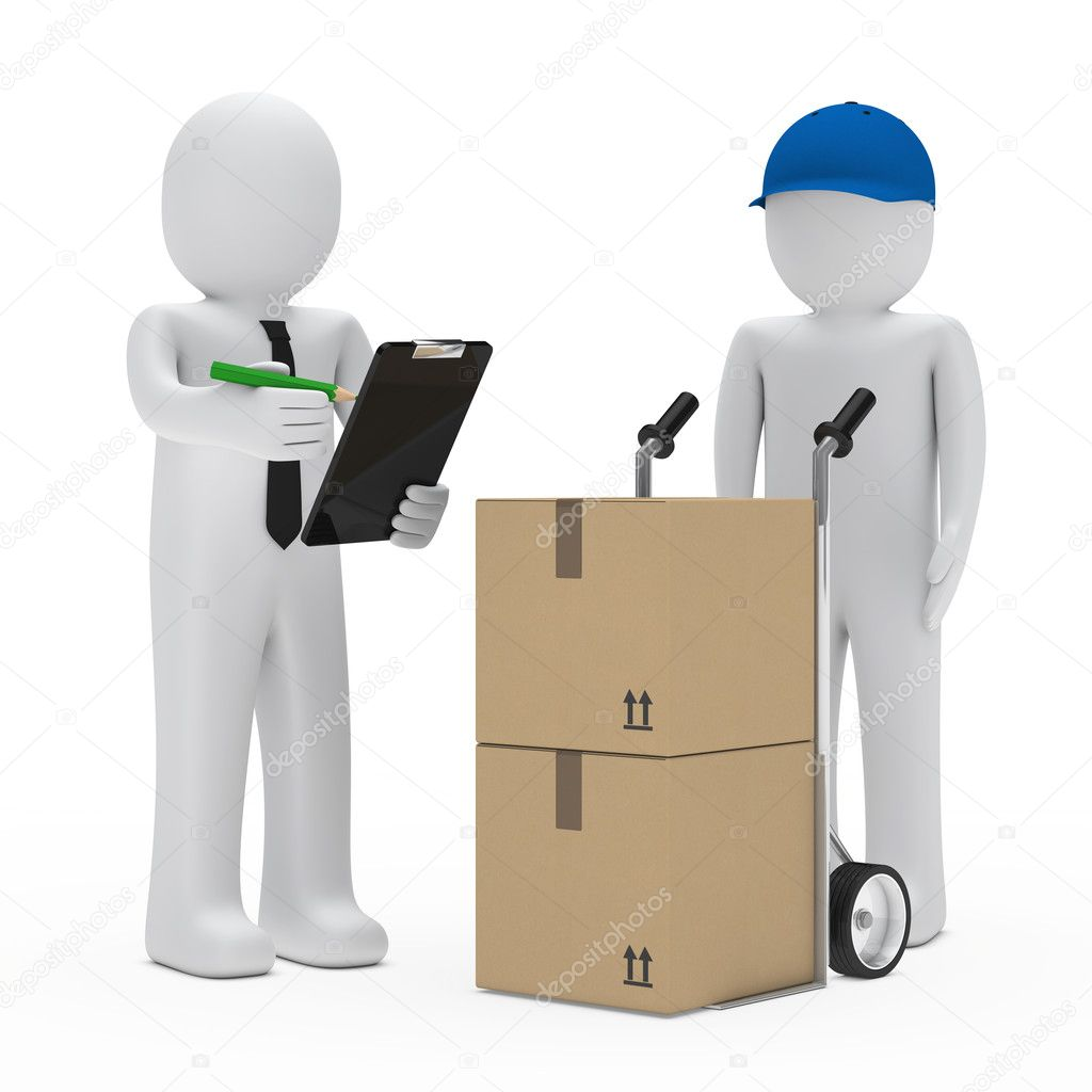 Businessman get a package delivery and signs  Stock Photo #10045285
