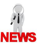 Businessman magnifying glass news — Stock Photo