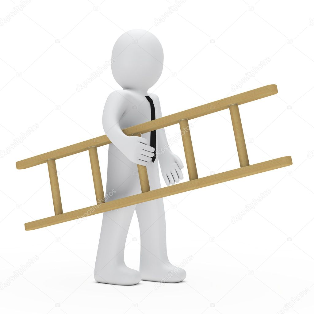 Businessman with tie hold a small ladder — Stock Photo #10476158