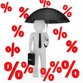 Businessman umbrella sale percent — Stock Photo