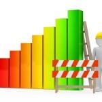Man construction bar graph — Stock Photo