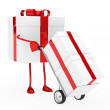 Gift box red ribbon — Stockfoto