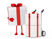 Gift figure hand truck — Stock Photo
