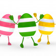 Royalty-Free Stock Photo: Colorful eggs go and wave