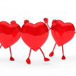 Glossy red valentine hearts wave — Stock Photo