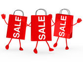 Red sale bags wave — Stock Photo