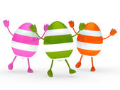Colorful eggs go and wave — Stock Photo