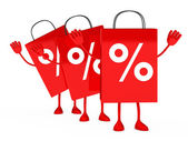 Red sale percent bags wave — Stock Photo