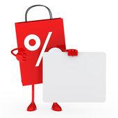 Sale bag hold billboard — Stock Photo