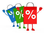 Colorful sale percent bags wave — Stock Photo