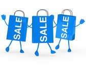 Blue sale bags wave — Stock Photo