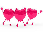 Glossy pink valentine hearts wave — Stock Photo