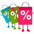 Stock Photo: Colorful sale percent bags wave