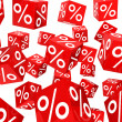 Red sale percent cubes — Stock Photo