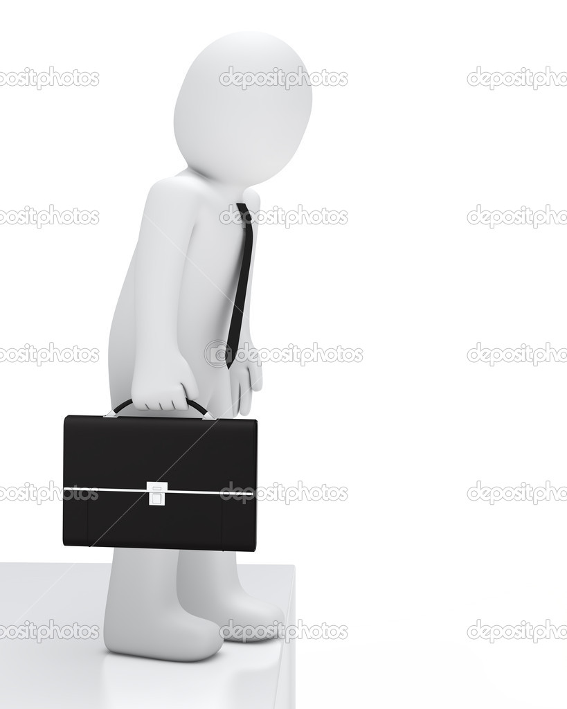 Businessman with briefcase look a canyon down — Stock Photo #8695721