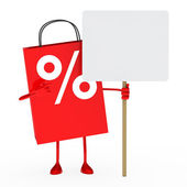 Red percent sale bag — Stock Photo