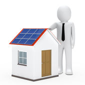 Businessman solar house — Stock Photo