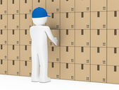 Man package wall — Stock Photo