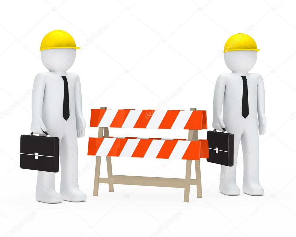 Business men with helmet stand behind barrier — Stock Photo #9231923