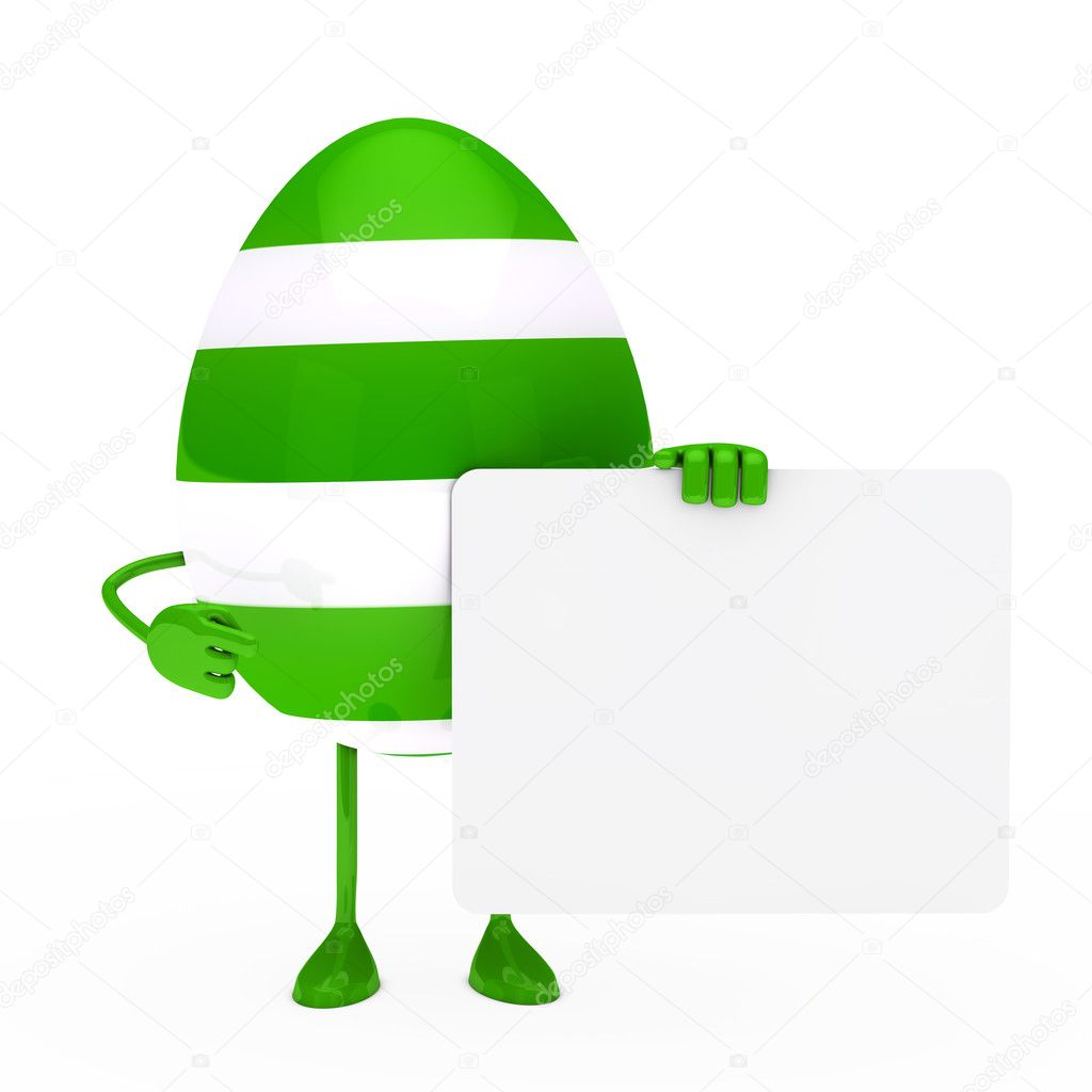 Easter green egg figure hold a billboard — Stock Photo #9402756