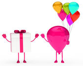 Gift and balloon figure — Stock Photo