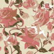 Seamless pattern with pink roses — Vector de stock #10229532