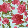 Seamless pattern with pink roses — Vector de stock #10229552