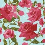 bezešvé vzor s růžovými růžemi — Stock vektor