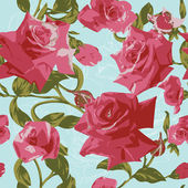 Seamless pattern with pink roses — Stock Vector