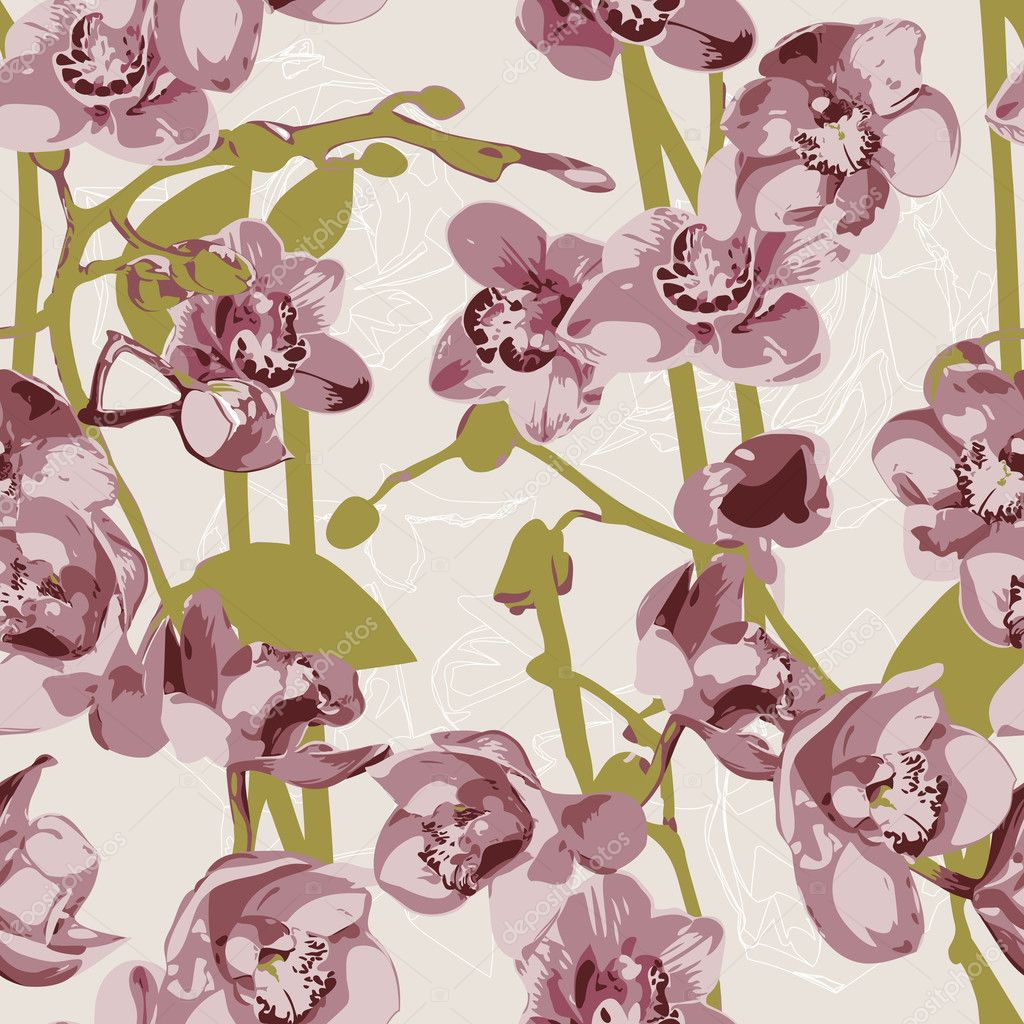 Beautiful seamless pattern with orchids  — Stock Vector #10229520