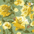 Seamless pattern with yellow roses — Stockvektor