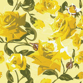 Seamless pattern with yellow roses — Stock Vector