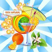 Fondo abstracto con zumo de naranja — Vector de stock