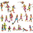 Children silhouettes made of colorful spots — Stock Vector #9679976