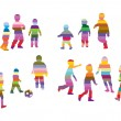 Children silhouettes made of colorful stripes — Stock Vector