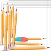 Lápis e borracha — Vetor de Stock