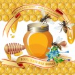 Closed honey jar, wooden dipper, bees, and ribbons — Stock Vector