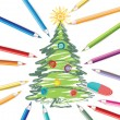 Christmas tree with colored pencils — Vector de stock