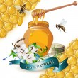 Jar of honey with wooden dipper, bees, ribbon and orchids — Stock Vector #9680606