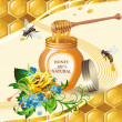 Jar of honey with wooden dipper, bees and yellow rose — Stock Vector #9684147