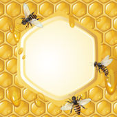 Background with bees — 图库矢量图片
