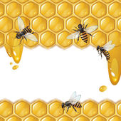 Background with bees — Stok Vektör
