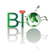 Illustration de texte bio avec planète drôle — Vecteur