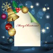 Hoja de papel, bolas de navidad y campana — Vector de stock
