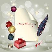 Feuille de papier, boules de Noël, pot d'encre et une plume — Vecteur