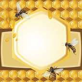 Background with bees — Vettoriale Stock