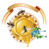 Three bees and honeycombs — 图库矢量图片