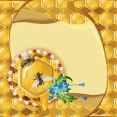 Background with bees and honeycomb — Vettoriale Stock
