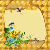 Background with bees and honeycomb — Vecteur